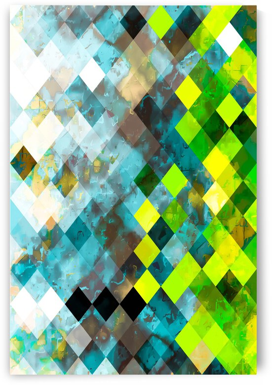 geometric square pixel pattern abstract art background in blue green by TimmyLA