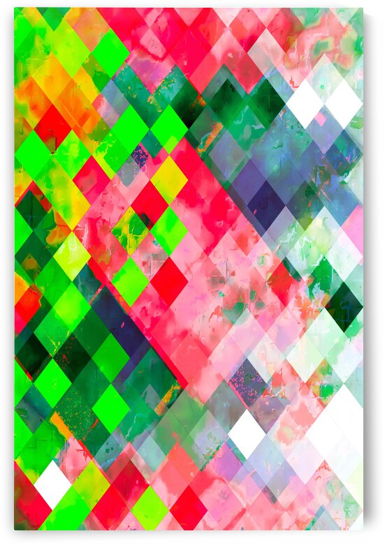 geometric square pixel pattern abstract art background in green red by TimmyLA