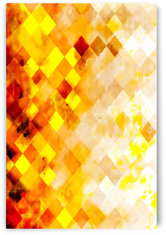 geometric pixel square pattern abstract in brown and yellow by TimmyLA