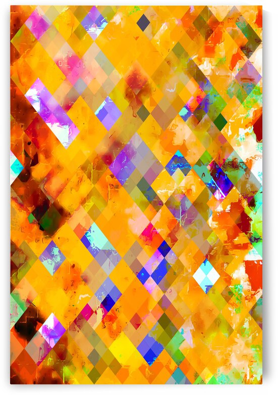 geometric pixel square pattern abstract in orange yellow blue by TimmyLA