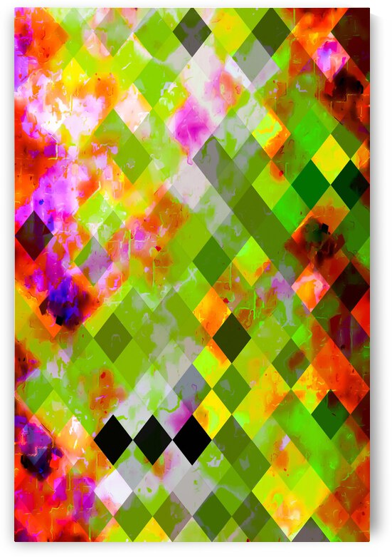 geometric pixel square pattern abstract in green purple red by TimmyLA