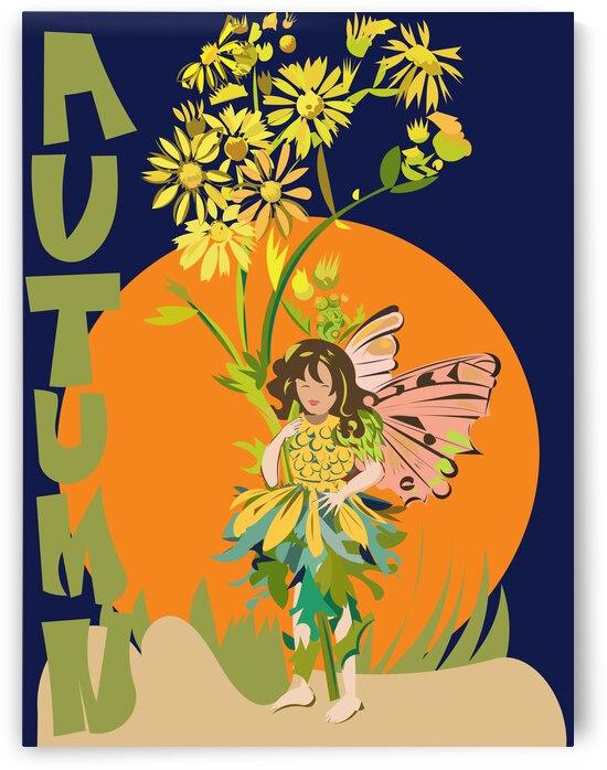 Autumn Flower Fairy Print by Sarah Butcher