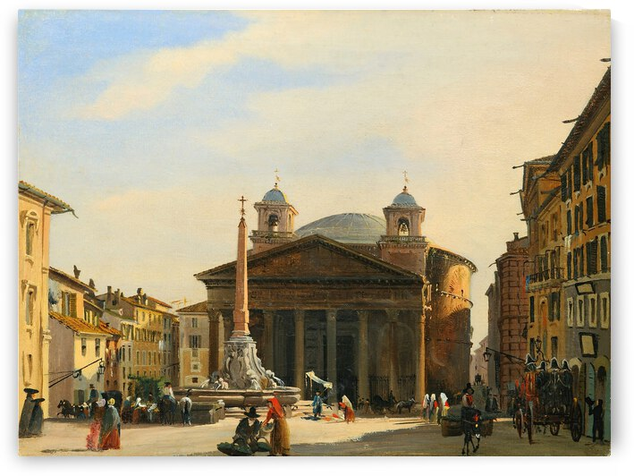Ippolito Caffi 1860 The Pantheon Rome by TOPARTGALLERY