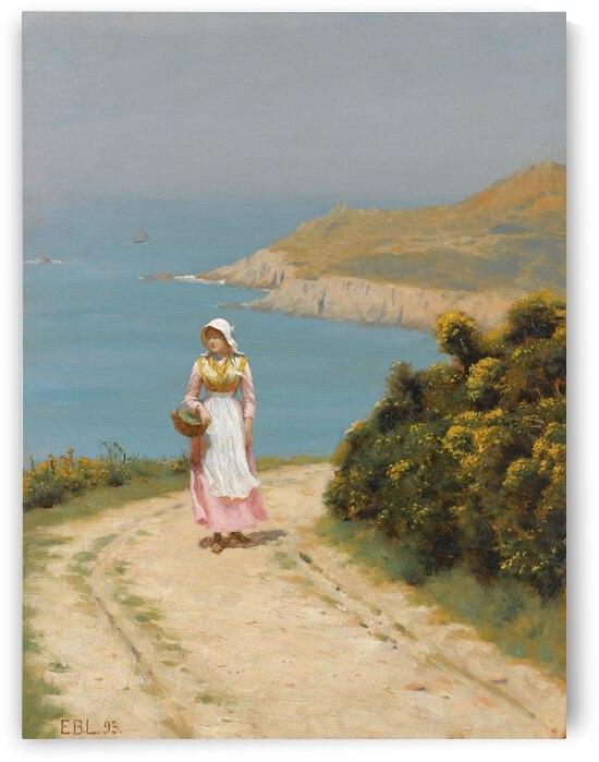 Edmund Blair Leighton Girl On A Coastal Path  1893  by TOPARTGALLERY