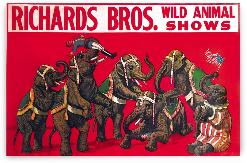 Vintage Poster, Richard Bros - Wild Animal Shows by VINTAGE POSTER
