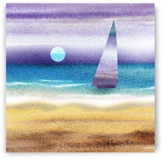 Beach House Art Sailboat At The Ocean Shore Seascape Painting II by Irina Sztukowski