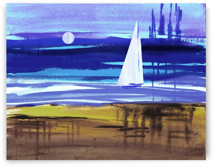 Beach House Art Sailboat At The Ocean Shore Seascape Painting IV by Irina Sztukowski