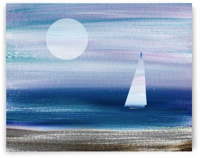 Beach House Art Sailboat At The Ocean Shore Seascape Painting VI by Irina Sztukowski