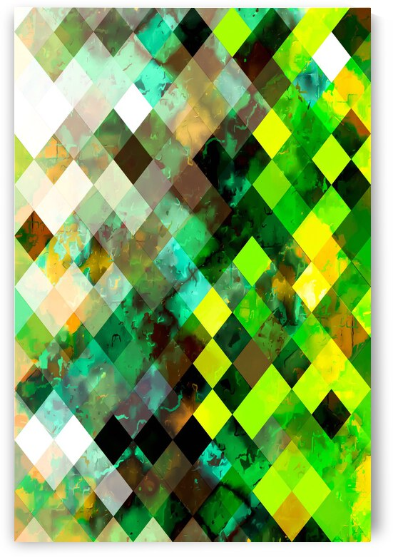 geometric square pixel pattern abstract background in green yellow brown by TimmyLA