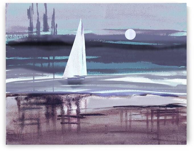 Beach House Art Sailboat At The Ocean Shore Seascape Painting VIII by Irina Sztukowski