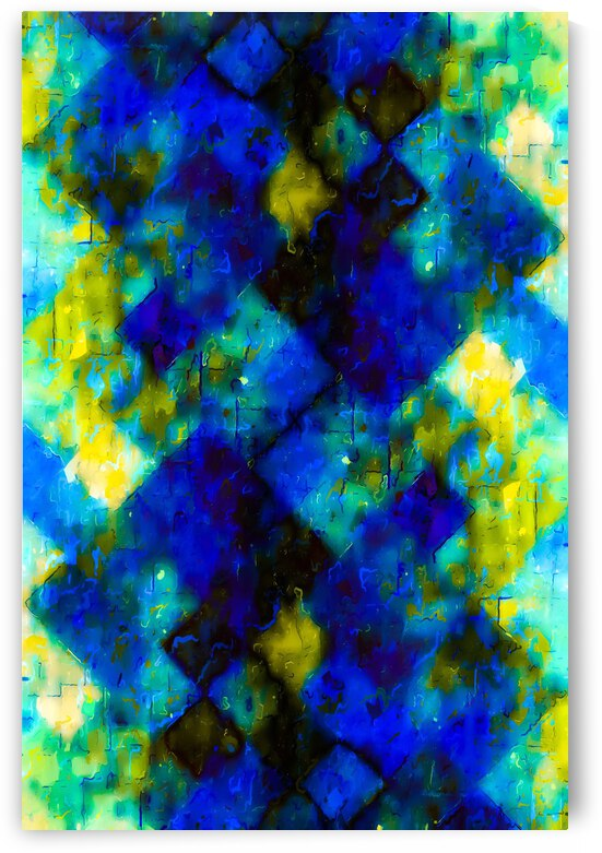 geometric square pixel pattern abstract background in blue yellow green by TimmyLA