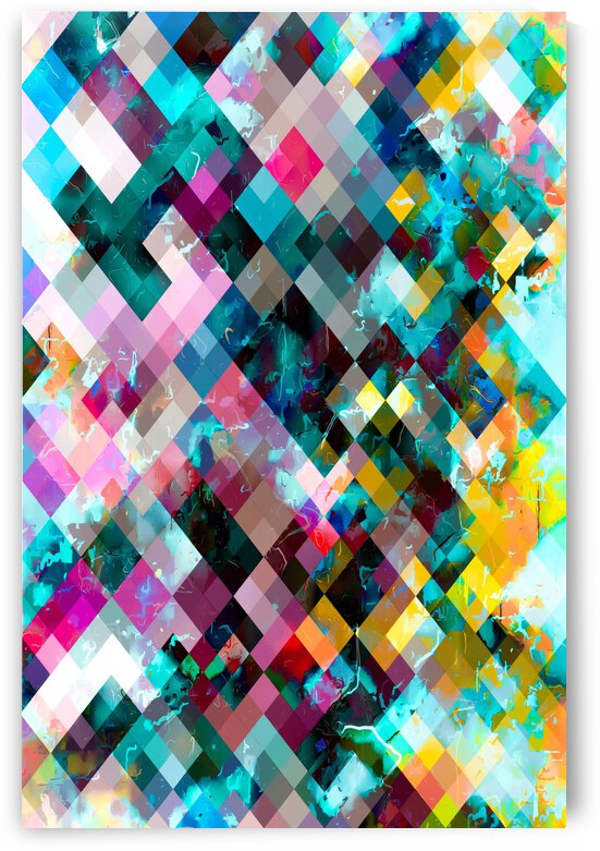 geometric square pixel pattern abstract background in blue pink orange purple by TimmyLA