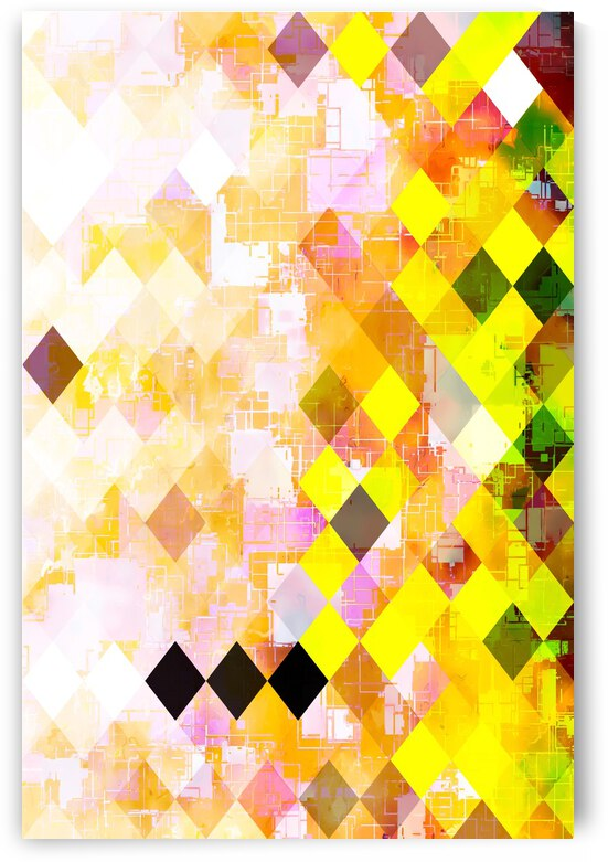 geometric square pixel pattern abstract background in yellow green pink orange by TimmyLA