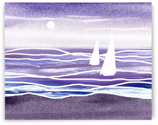 Beach House Art Sailboats At The Ocean Shore Seascape Painting X by Irina Sztukowski