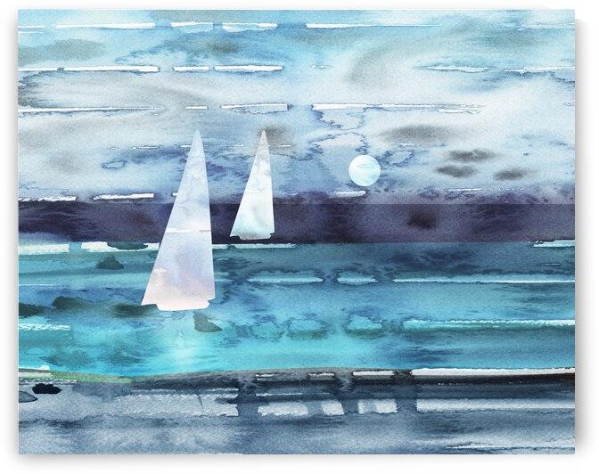 Beach House Art Sailboats At The Ocean Shore Seascape Painting XII by Irina Sztukowski