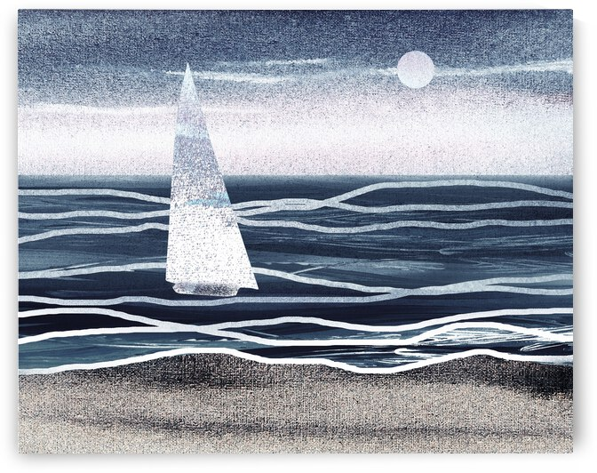 Beach House Art Sailboat At The Ocean Shore Seascape Painting XIII by Irina Sztukowski