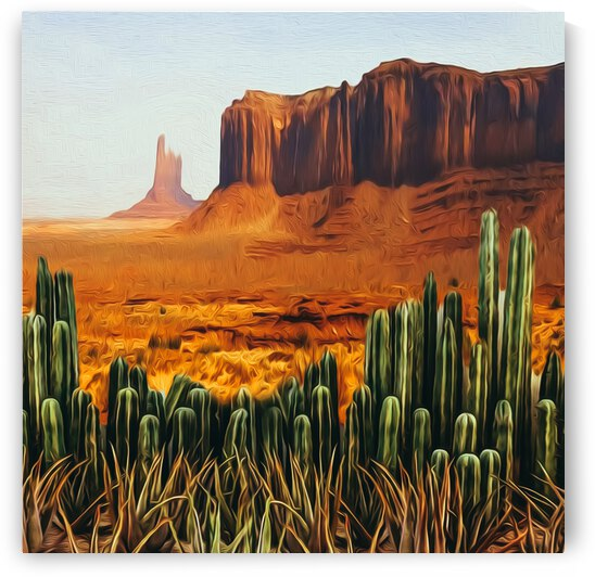 A clearing with cacti in the Texas Desert.  by Ievgeniia Bidiuk