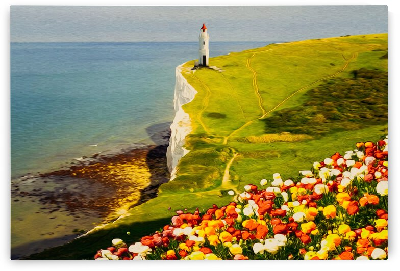 Blooming ranunculus on the background of a hill with a lighthouse.  by Ievgeniia Bidiuk