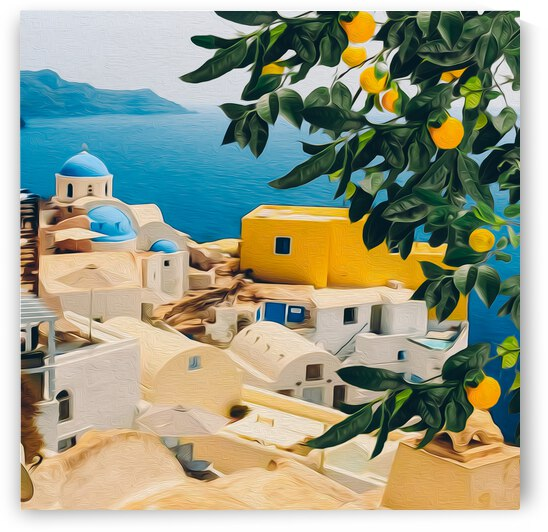 Mandarin branch with fruits on Santorini background.  by Ievgeniia Bidiuk