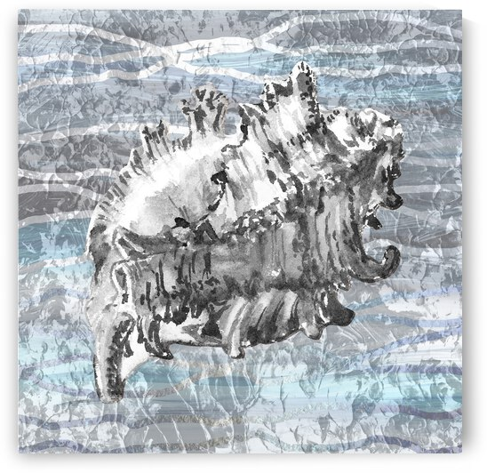 Silver Gray Seashell On Ocean Shore Waves And Rocks III by Irina Sztukowski