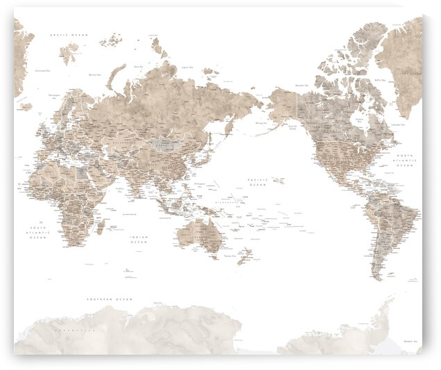 Pacific centered detailed world map with cities in neutral watercolor Abey by blursbyai