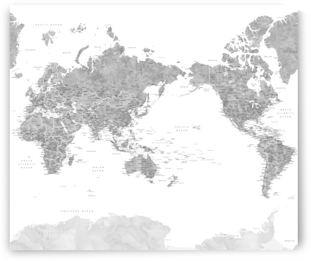 Pacific centered detailed world map with Antarctica in gray watercolor  Jimmy by blursbyai