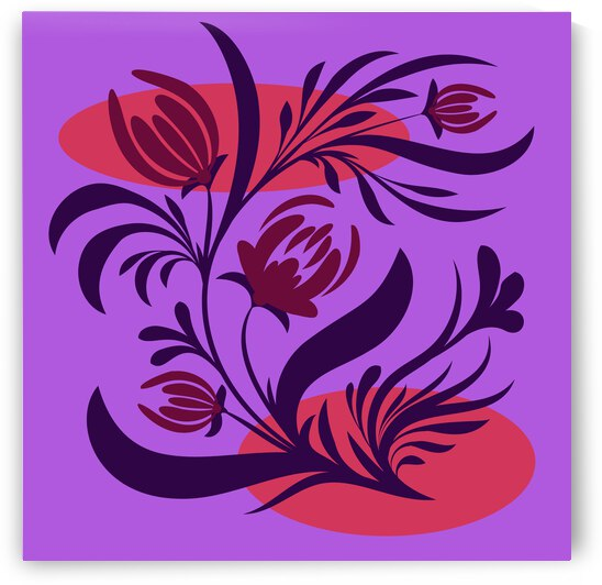 Folk floral print . Abstract flowers art  poster.  by Eskimos