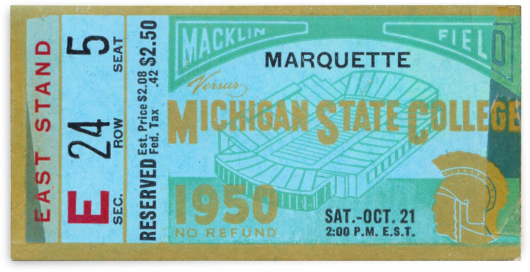 1950 Marquette vs. Michigan State Football Ticket Poster by Row One Brand