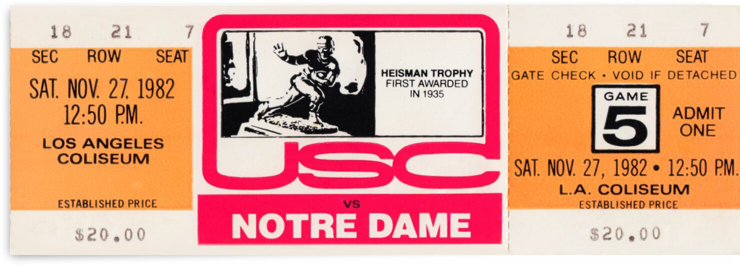 1982 USC vs. Notre Dame Football Ticket Canvas by Row One Brand