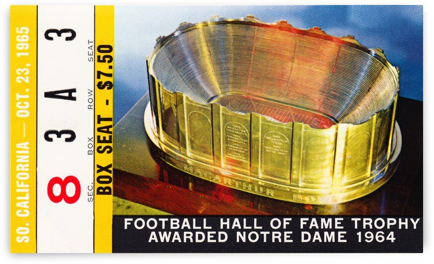 1965 Notre Dame vs. USC Football Ticket Canvas by Row One Brand