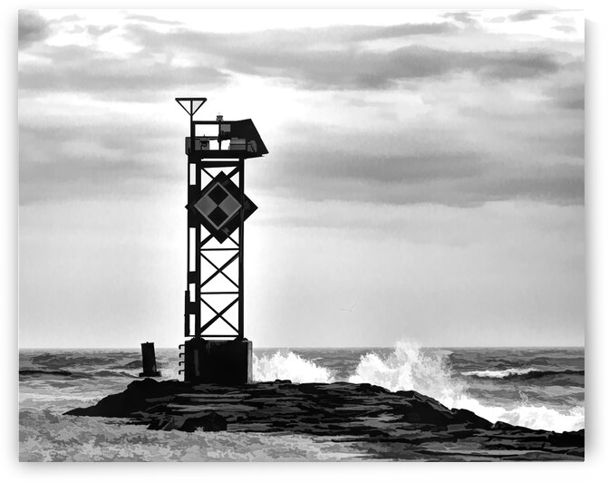 Ocean City Inlet Jetty in Black and White by Ocean City Art Gallery