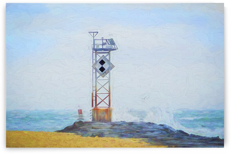 Ocean City Inlet Jetty Light Marker Impressionistic by Ocean City Art Gallery