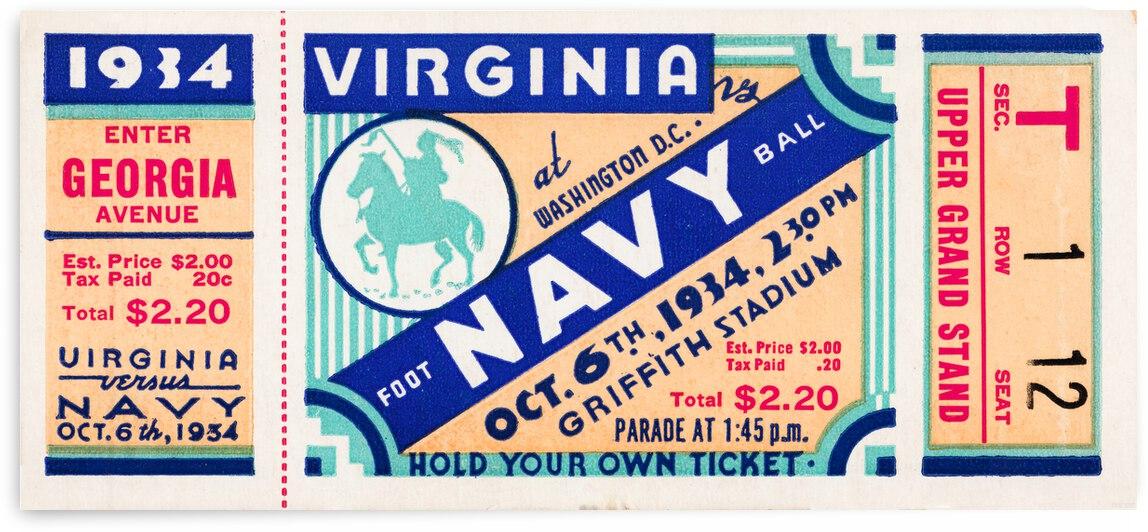1934 Virginia vs. Navy Football Ticket Canvas by Row One Brand