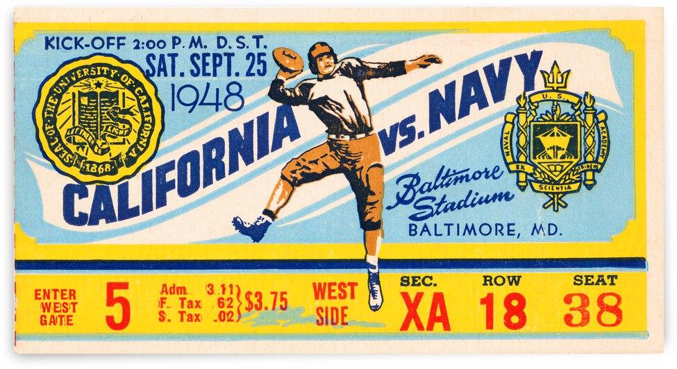 1948 California Bears vs. Navy Football Ticket Poster by Row One Brand