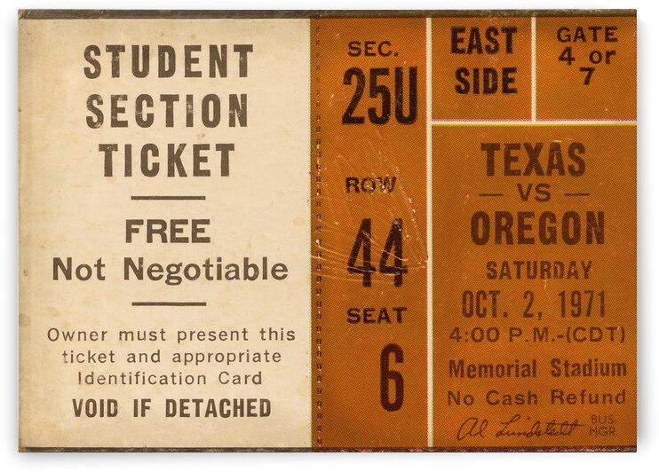 1971 Texas Longhorns Football Ticket Canvas by Row One Brand