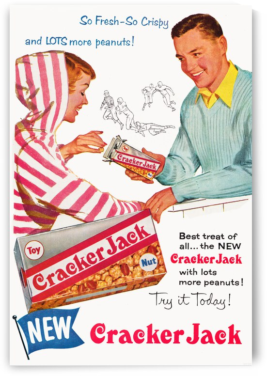 1956 Cracker Jack Advertisement Poster by Row One Brand