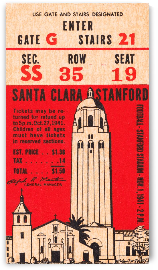 1941 Stanford vs. Santa Clara Football Ticket Canvas by Row One Brand