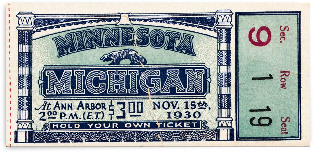 1930 Michigan vs. Minnesota Football Ticket Canvas by Row One Brand
