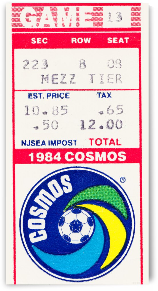 1984 New York Cosmos Soccer Ticket Canvas by Row One Brand