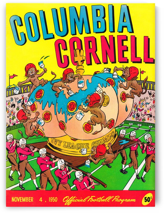 1950 Columbia vs. Cornell Football Program Canvas by Row One Brand