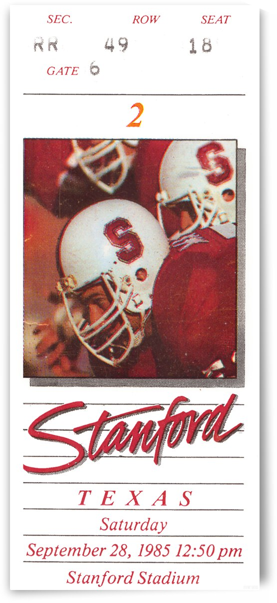 1983 Stanford vs. Texas Football Ticket Canvas by Row One Brand