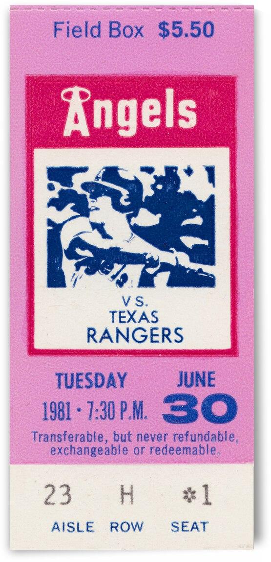 1981 California Angels vs. Texas Rangers Ticket Stub Canvas by Row One Brand