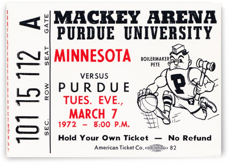 1972 Purdue Basketball Ticket Canvas by Row One Brand