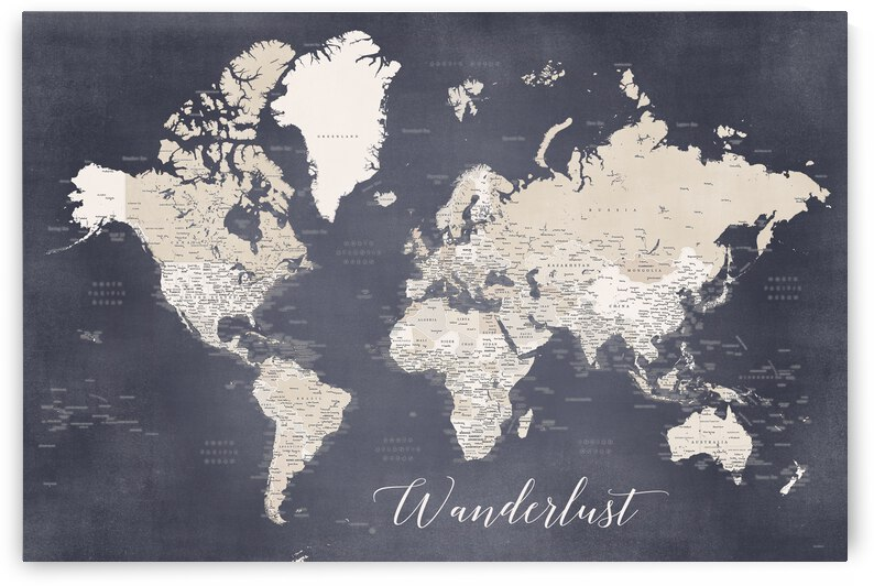 Wanderlust detailed world map in muted blue and light brown  Glyn by blursbyai