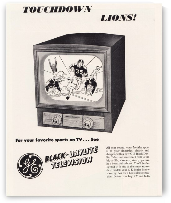 1950 GE Television Lions Football Ad Poster by Row One Brand