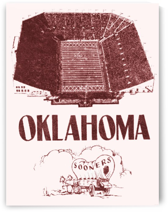 1952 Oklahoma Sooners Football Art by Row One Brand