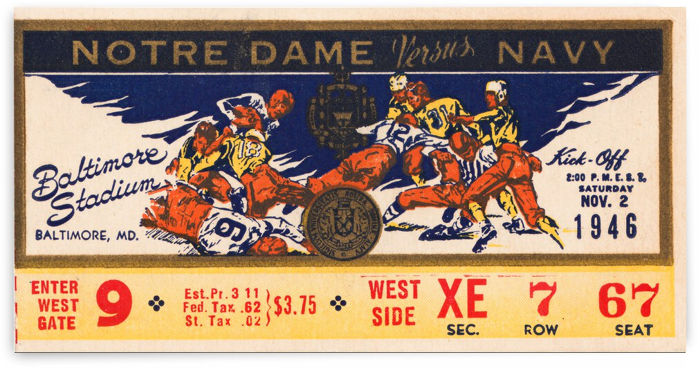 1946 Notre Dame vs. Navy Football Ticket Canvas by Row One Brand