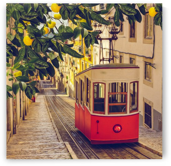Lemon branch with fruits on the background of a red tram on an old street. by Ievgeniia Bidiuk