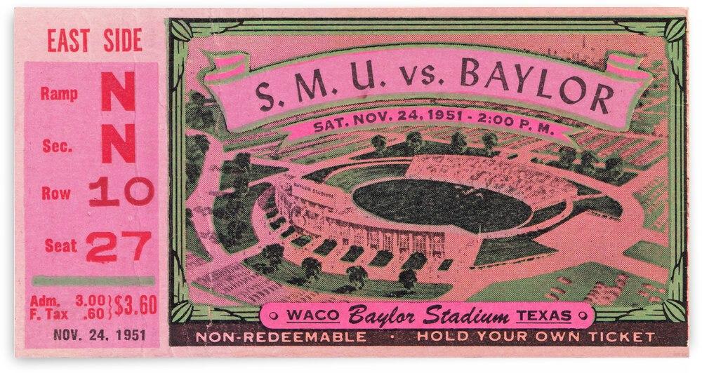 1951 SMU vs. Baylor Football Ticket Canvas by Row One Brand