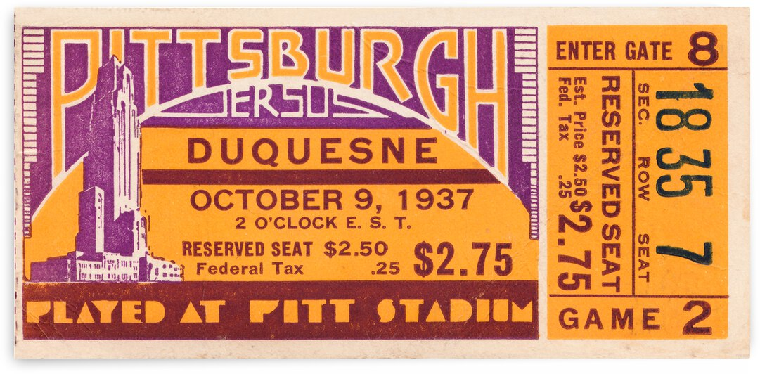 1937 Pittsburgh vs. Duquesne Football Ticket Canvas by Row One Brand